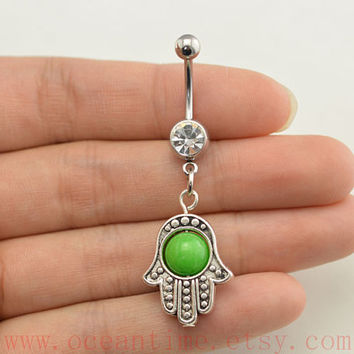 belly button jewelry, Hamsa Hand Belly Button Ring Evil Eye Belly Jewelry,friendship bellyring,bff gift
