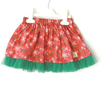 Red and Green Snowflake Skirt, Christmas gift , girl skirt, toddler skirt, Christmas skirt
