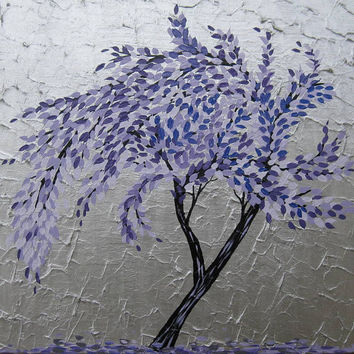 Huge painting purple and lilac windswept tree with silver textured -large zen cherry blossom or plum blossom branches tree delicate