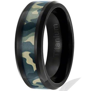 8MMTitanium Camo Ring Black Platedwith Green Military Camouflage Inlay Beveled Edges