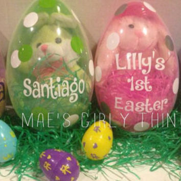 Personalized Easter eggs and stuffed animal