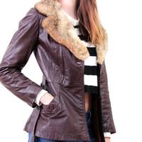 Women's Vintage Leather Jacket with Fur Collar - Winter Coat - Gifts For Her - Deep Cherry Brown - Chocolate Brown Vintage 1970s