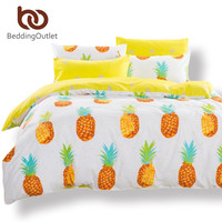 BeddingOutlet 2016 Pineapple Land Duvet Cover Cute Greenyellow Cactus Bedlinen 100% Cotton Soft Bedding Set 4pcs Twin Queen