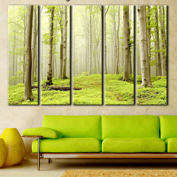 Forest, nature print, printing on canvas, canvas wall art, large canvas art, office art decor, green trees, green forest picture