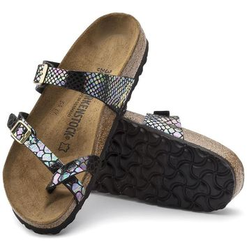 Birkenstock for Women:Mayari Birko-Flor Shiny Snake Black Multicolor Sandals