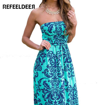 Refeeldeer Boho Summer Dress Women 2017 Summer Sundress Tunic Off Shoulder Floor Length Long Maxi Beach Dress Shirt Robe Femme