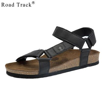Road Track New Fashion Summer Leisure Beach Men Shoes PU Leather Sandals The Big Yards Men's Sandals