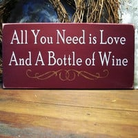Love and Wine Sign Wood Painted Wine Lover by CountryWorkshop