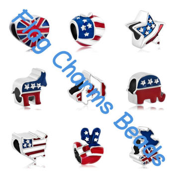 Christmas Gift American Flag Charms Beads For Snake Chain Bracelet Free Shipping