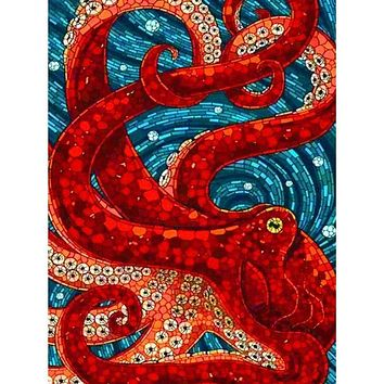 5D Diamond Painting Red Mosaic Octopus Kit