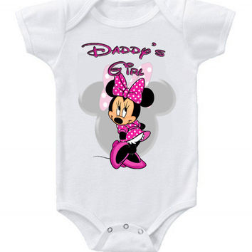 Cute Funny Disney Minnie Mouse Baby Bodysuits One Piece Daddy's Girl