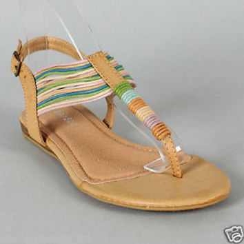 Strappy T-strap Thong Flat Sandals NATURAL Size 6 to 10