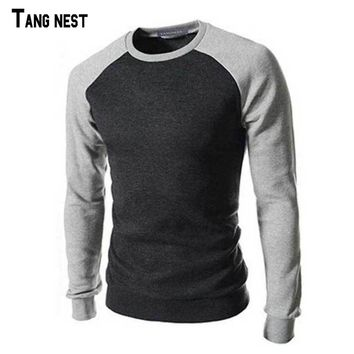 Men Sweatshirt Casual Patchwork O-neck Sweatshirt