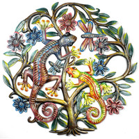 24 inch Painted Gecko Tree of Life - Croix des Bouquets