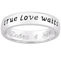 True Love Waits Purity Band in Sterling Silver (25 Characters) - Personalized Rings - Shared - Zales