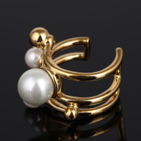 Kate Spade Fashion New More Pearl Personality Open Ring Women Golden
