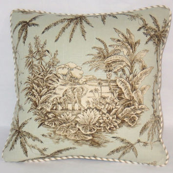 "Elephant Toile Pillow - Pale Blue and Brown Jungle Passage Robins Egg by Braemore 17"" Square Insert Included Ready Ship Last One"