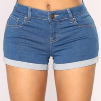 Let's Go Denim Shorts - Medium Blue Wash