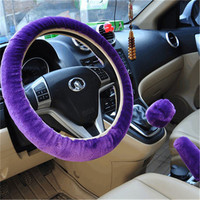 Purple 3pcs Artificial wool plush car cover steering wheel cover plush set handbrake cover car imitation fur steering wheel set gift Winter & Autumn Warm