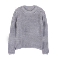 Grey O-neck Pullover Sweater