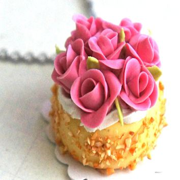 Almond Rose Cake Necklace