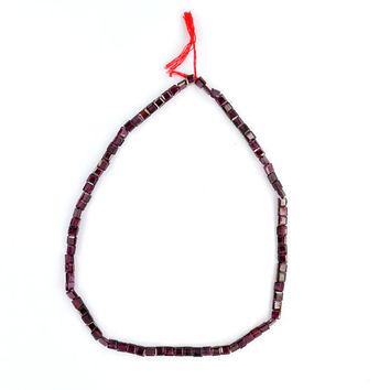 Natural Garnet Beads, Beads Line, Genuine bead necklace, Faceted Beads, Almost Square Shape, 12 Inch Strand, Gemstone Beads Line Supplies