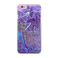 """Marianna Tankelevich """"Abstract With Wolf"""" Purple Illustration iPhone Case"""