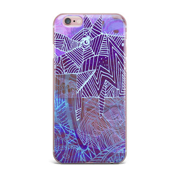 "Marianna Tankelevich ""Abstract With Wolf"" Purple Illustration iPhone Case"