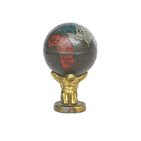 Atlas Globe Pencil Sharpener - Antique World Globe - Made in Germany - Tin Lithograph Toy - Vintage School Desk Accessory