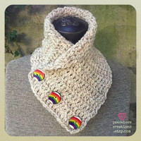 Crochet Neck Cowl w/ Rainbow Buttons~Ready to Ship~FREE SHIPPING