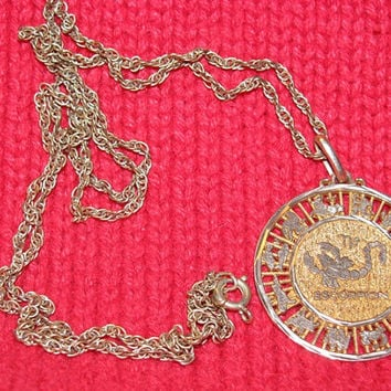 Gold Horoscope Pendant, Escorpion, Scorpion, Mexico, Celestial Pendant Necklace, Astrology