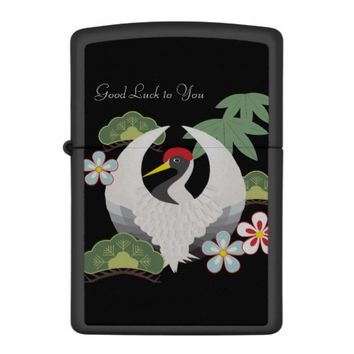 Japanese Lucky Symbols Cool Elegant Black Zippo Lighter