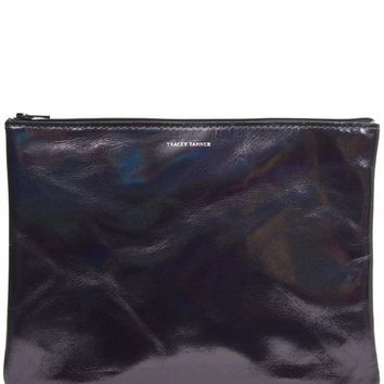 Large Hologram Leather Zip Pouch