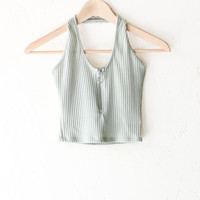 Zip It Halter Crop Top - Sage