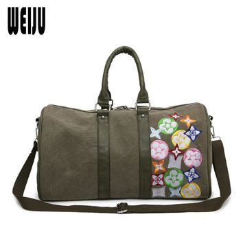WEIJU New Women Travel Bag Handbags Canvas Portable Luggage Bags Embroidered Weekend Duffle Bag Casual Shoulder Bags