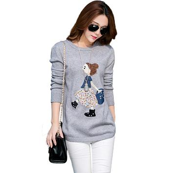 2016 New brand autumn Sweaters Cute Cartoon Long Sleeve Pullover Loose Round Neck Female winter cashmere Sweater for Women