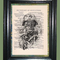 Jungle Warfare American Soldier - Vintage Dictionary Book Page Art, Upcycled Book Art, Print on Vintage Dictionary Book Page, Soldier Print
