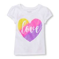 Toddler Girls Short Sleeve Glitter 'Love' Graphic Tee | The Children's Place