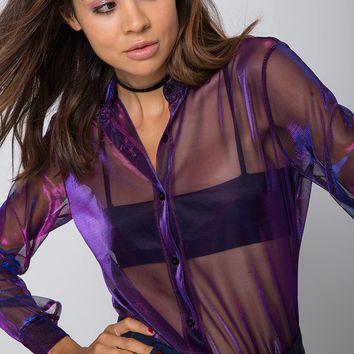 Dree Long Sleeve Blouse in Cosmic Net Galactic by Motel
