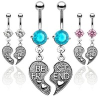 """Pair of Antique Finished """"Best Friend"""" Heart Charm Pendent CZ Belly Button Ring(Select Color)"""