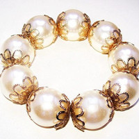 "White Pearl Bead Bracelet Stretch Bangle Gold Filigree Caps Wedding 1"" Vintage"