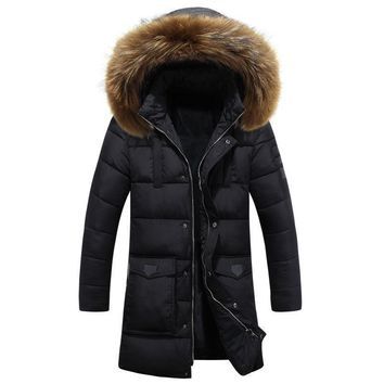2016 New Casual Long Winter Jackets Mens Fur Collar Hooded Blouson Hiver Homme