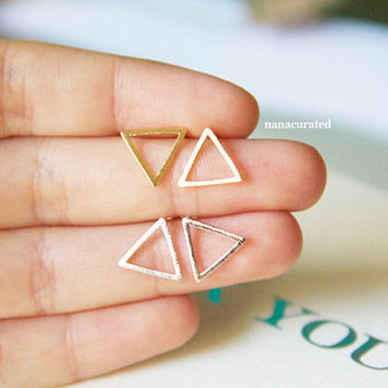 Triangle Outline Stud Post, Stud Post Earrings, Post Earrings, Elegant Earrings, Studs, Posts, Triangle Jewelry, Necklace, Minimal,Hipster