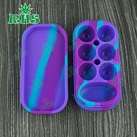 Silicone container for wax silicon Box case for Atomizer vaporizer dry herb E Cigarette Oil Box 34ml 6+1 large 5pcsfree shipping
