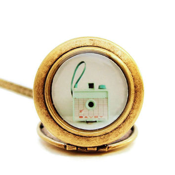 The Savoy - Pastel Mint Vintage Savoy Camera - Photo Locket Necklace