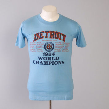 Vintage 80s TIGERS T-SHIRT / 1980s Detroit Tigers 84 World Champs Tee Shirt S