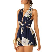 Floral Summer Sexy Romper Open Back