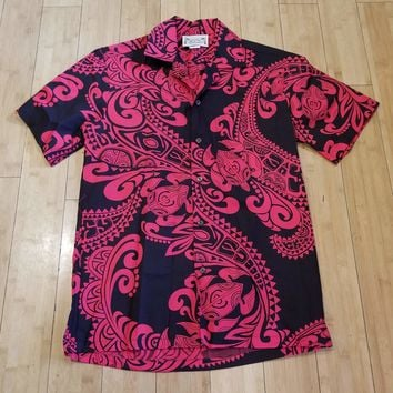 "Red and Black ""Tribal Swirl"" Mens Button Down Hawaiian Shirt"