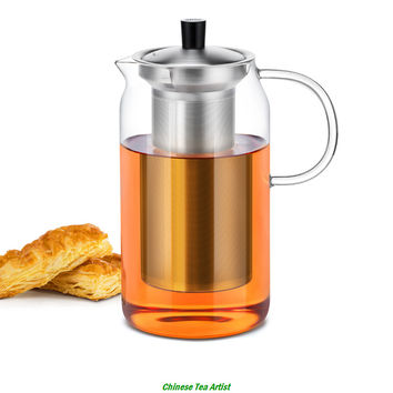 1200ml Premium Quality  Large Modern Heat Resistant Glass Teapot with Stainless Steel Infuser