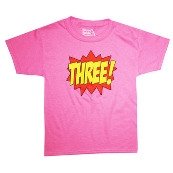 Kids SUPERHERO Third Birthday T-shirt - Hot Pink
